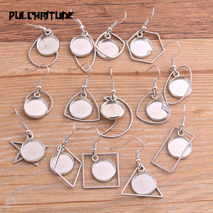 8pcs 12mm Inner Size Silver color Color Geometric Charm Stainless Steel Earring Hook Base Settings For DIY Jewelry Making