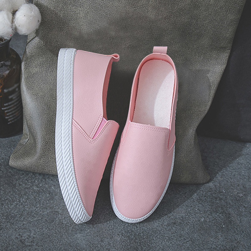 Women Casual Pu Leather Flat Loafers Slip On Sneakers Woman Sewing Fashion Female Candy Color Solid Platform Ladies Shoes 2020