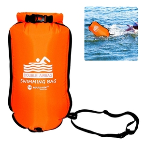 Marjaqe 20L Double Balloon Inflatable Swimming Bag Anti-Snoring Swimming Drag Buoy Kayak Drying Bag