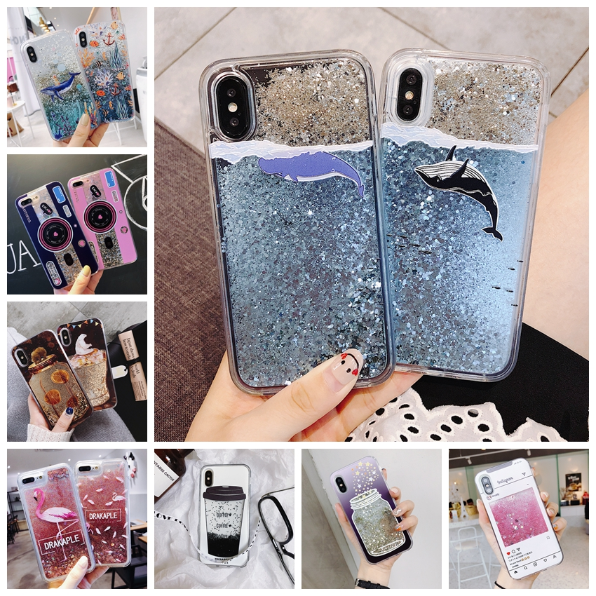 Cartoon Dolphin Quicksand Phone Case For IPhone X 7 6 6s Plus Dynamic Glitter Sequins Cover Cases For IPhone 8 Plus XS MAX XR
