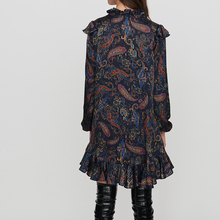 V-neck Paisley Ruffled Long Sleeve Mini Dresses