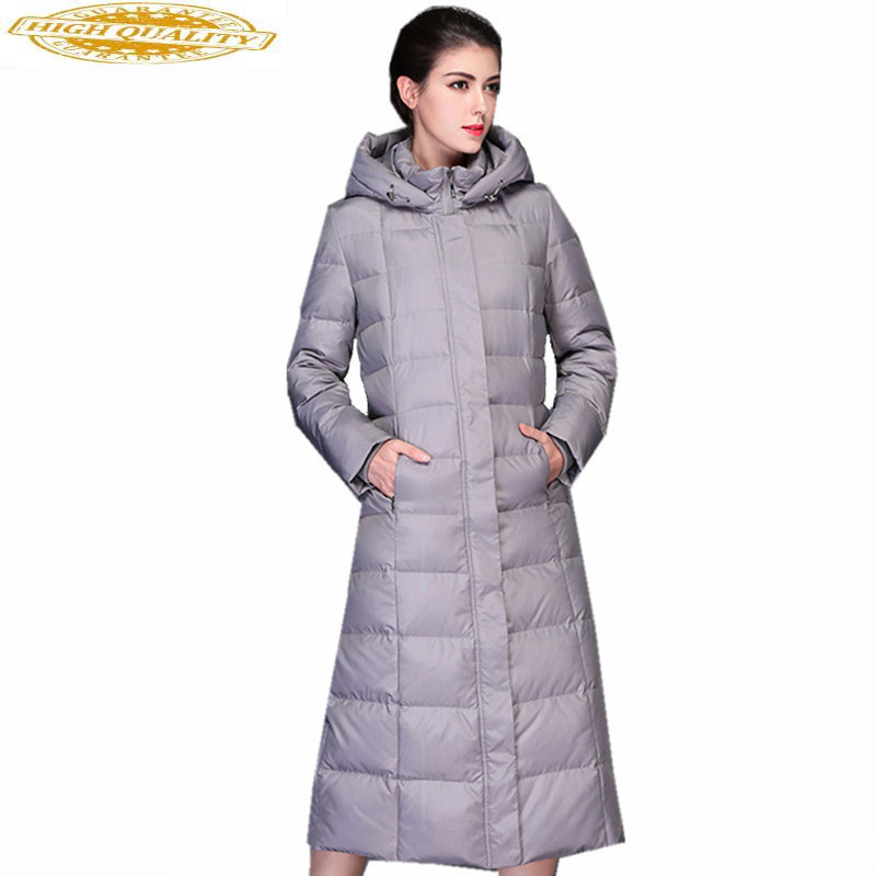 High Quality 2019 Women's White Duck Down Jacket Winter Coat Female Hooded Thick Jackets Women Long Parkas Mujer WXF219