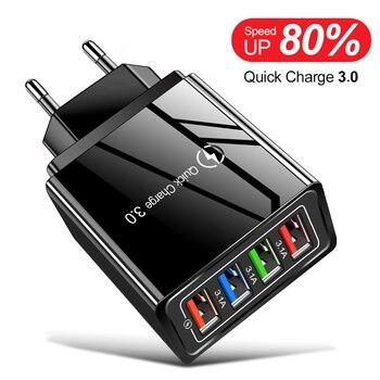 Зарядное устройство Lovebay, 3 А, USB, быстрое зарядное устройство 3,0 для iphone, Samsung, планшета, вилка для ЕС и США, настенное зарядное устройство для м...