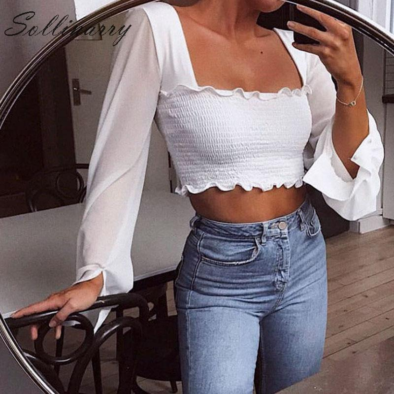 Sollinarry Fashion White Casual Crop Tops Women 2019 Long Sleeves Twist Slim Sexy T-Shirts Female Transparent Streetwear Tops