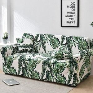 Image 1 - Folha floral impressão estiramento sofá capa para sala de estar algodão mobiliário protetor único loveseat sofá capa braço cadeira capa