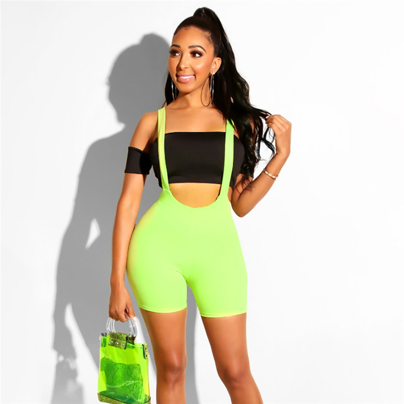 New Fashion Women Spandex Bib Shorts Summer Casual Solid Color High Waist Rompers Trousers