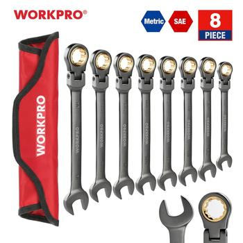 WORKPRO 8PC Wrench Set Flex-head Ratcheting Combination Wrenches Metric/SAE Ratchet Spanners Set Car Repair Tools