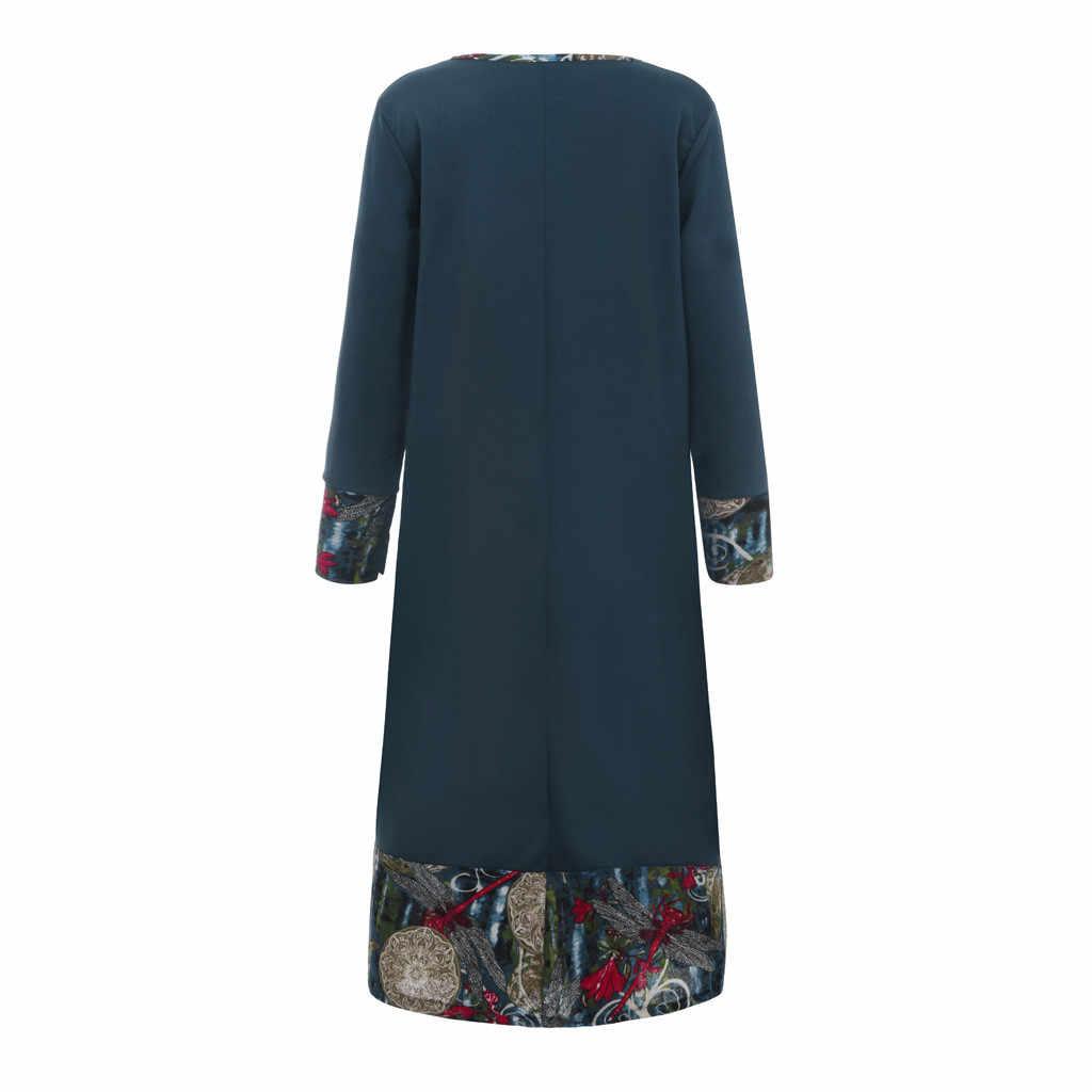 גבוהה באיכות אופנה נשים הדפסת Loose גדול קוד כותנה ופשתן ארוך שרוולים שמלה אלגנטי המפלגה שמלת Ropa Mujer #45