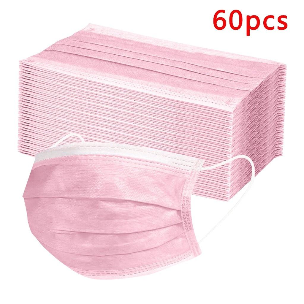 60 шт одноразовые розовые маски 3 слоя ушные петли маски дыхательные защитные маски со ртом для лица нетканые синие маски для лица Mascarillas|Женские маски|   | АлиЭкспресс