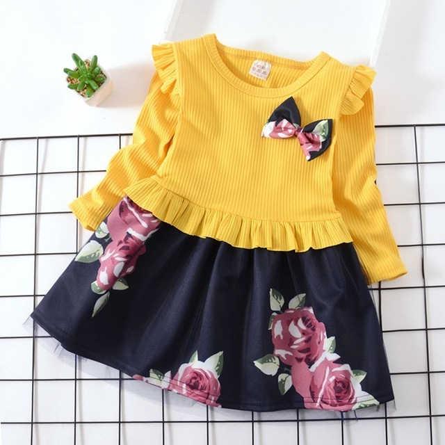 2019 الخريف الفتيات الطفل اللباس الزهور الأزياء طويلة الأكمام اللباس ريفي نمط الأحمر الأصفر القوس القليل الأميرة اللباس ل الفتيات