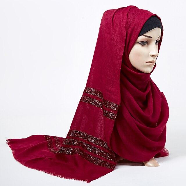 נשים רגיל צעיף חיג אב מוצק מצויצים נצנצים מוסלמי ארוך ראש לעטוף טורבנים צעיפים/צעיף