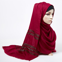 Kobiety gładki szalik hidżab stałe frędzlami szale brokat muzułmański długi szal na głowę wrap turbany szaliki/szalik