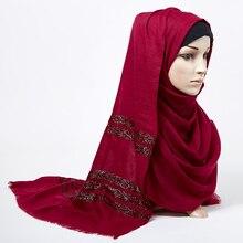Women Plain scarf hijab solid Fringed shawls glitter muslim long head wrap turbans scarves/scarf