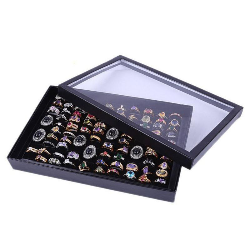 100 Slot Black Velvet Sponge Ring Display Box Jewelry Showcase Tray With Lid