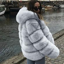 Women Hooded Fur Coat Winter Faux Fox Coats Elegant Womens Plus Size Jacket High Quality Artificial 4XL