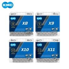 Kmc X8 X9 X10 X11 eptチェーン116リンク9v 10v 11v 8スピードシルバー錆を防止余分な光ダブルmtbロードバイク自転車チェーン