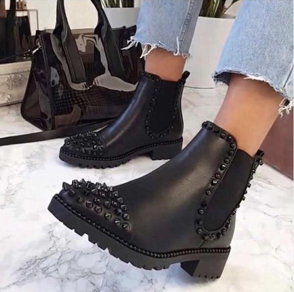 [Gogd] sexy rebite veludo noite clube festa sapatos mulher curto outono inverno senhoras sapatos botas