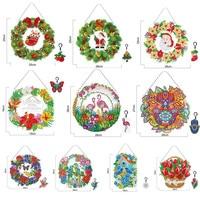 Guirnalda de flores Diy para decoración de ventanas, con diamantes acrílicos LED, para colgar en la puerta, guirnaldas decorativas de navidad, regalos