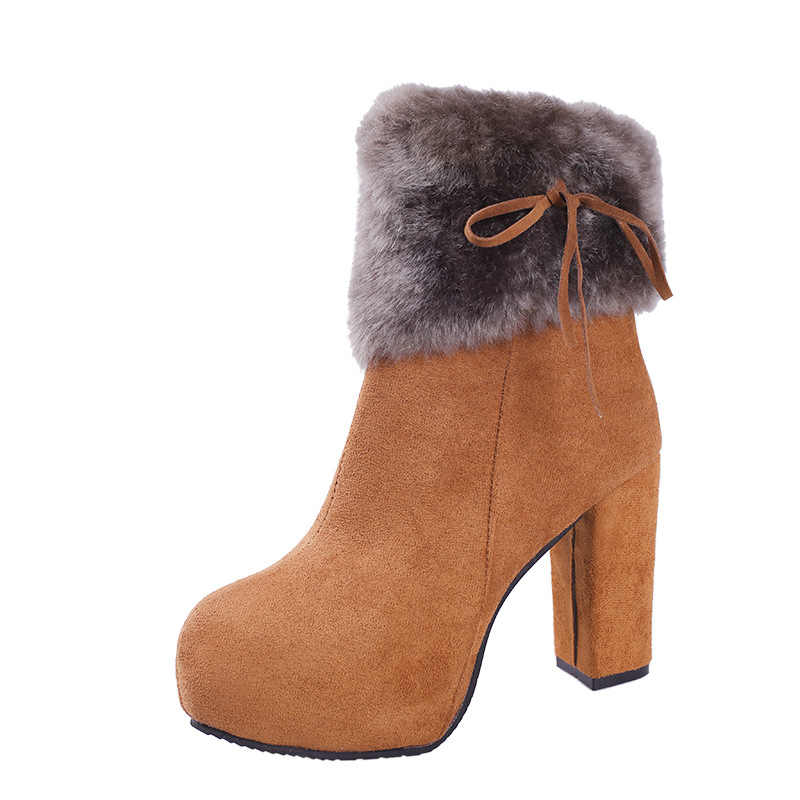 Yeni 2019 Kış Ayakkabı Kadın Yüksek Topuklu Çizmeler Kürk Sıcak Çizmeler Kadınlar için Kış Yüksek Topuklu Süper Kare Yüksek Topuk 10cm YX1658
