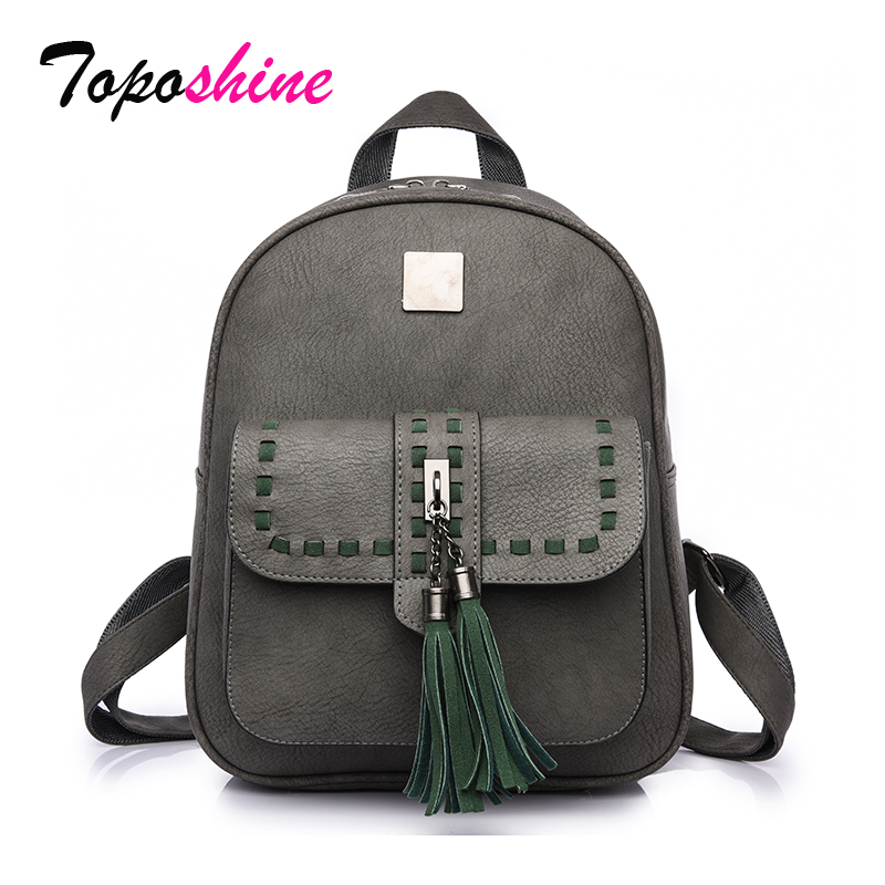 Toposhine 2019 Retro Panelled Women Backpacks Fashion PU Leather Lady Backpacks Girls Backpacks Popular Cute School Bags 1741