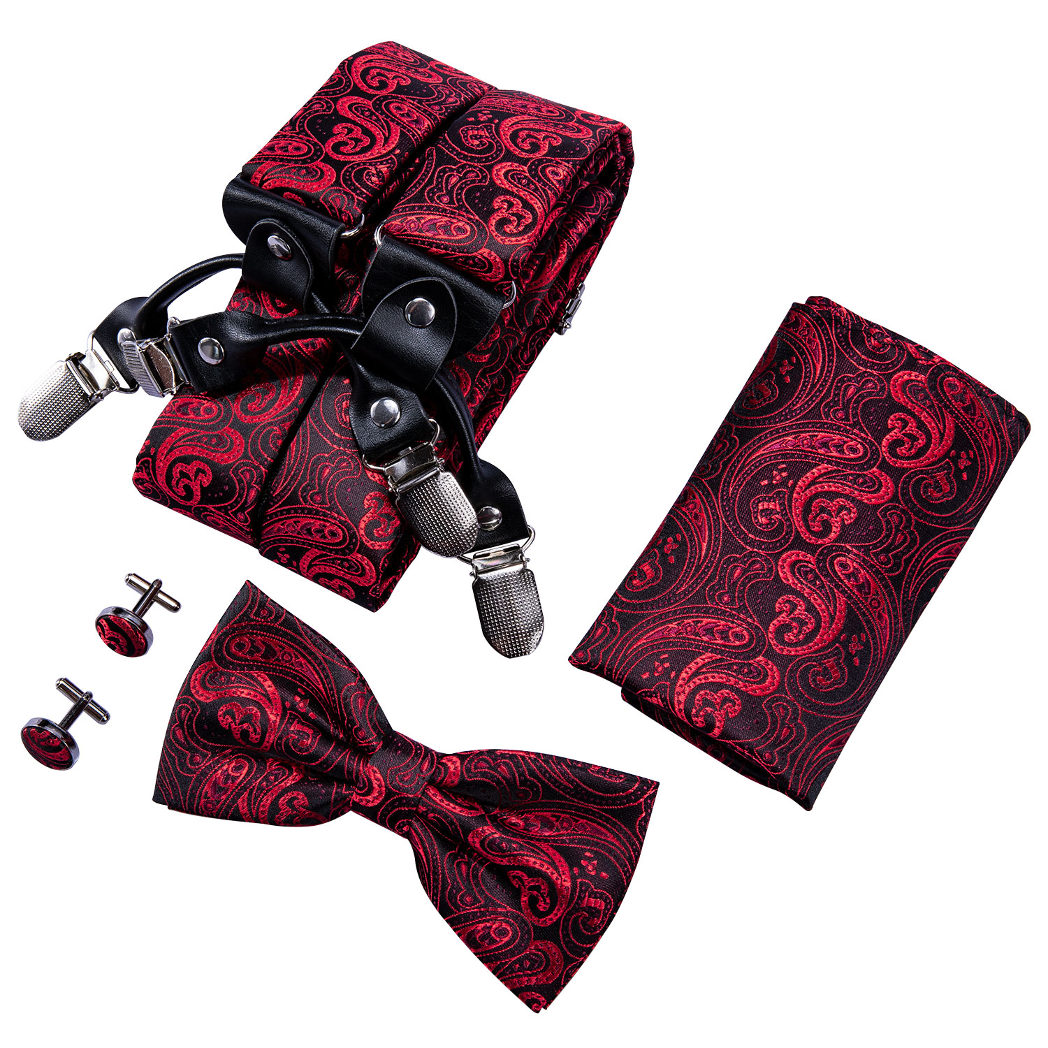 Men's Fashion Suspenders Shirt Bow Tie Red Paisley Hanky Set Woven Y-Back Silk Suspender No-slip Silver Clips Barry.Wang BB-2001