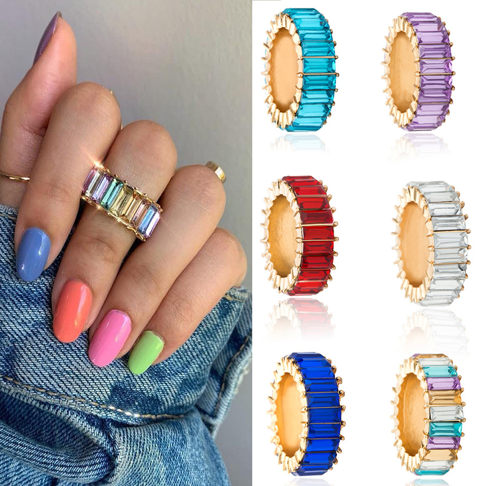 Charms-Rings Jewelry Rhinestone Punk Wedding-Statement Fashion Women Luxury Bride Multi-Color