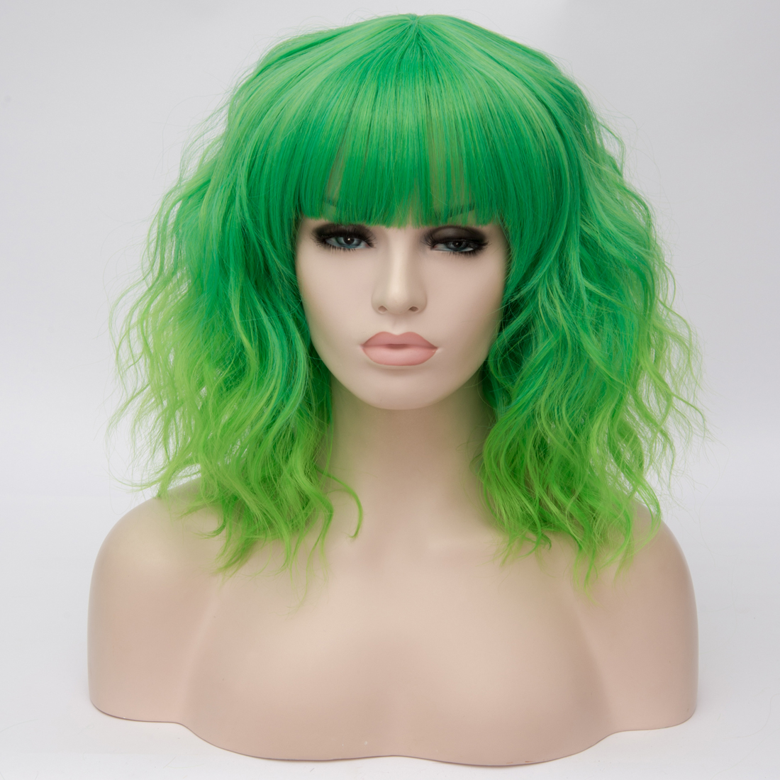 H59a3301b4c7944f78e91f5b47edfd744t - Similler Short Synthetic Wig for Women Cosplay Curly Hair Heat Resistance Ombre Color Blue Purple Pink Green Orange Two Tones