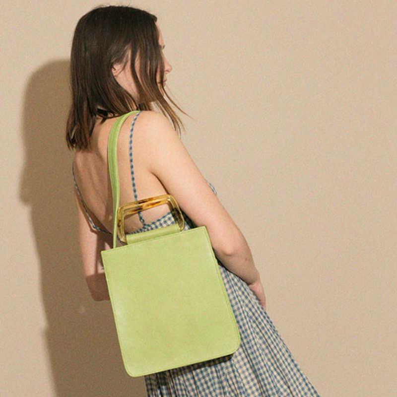 Nuevo bolso de mano de moda de acrílico para mujer, nuevo, elegante, grande, verde, cuadrado, bolso de hombro para mujer, bolso grande bolsas
