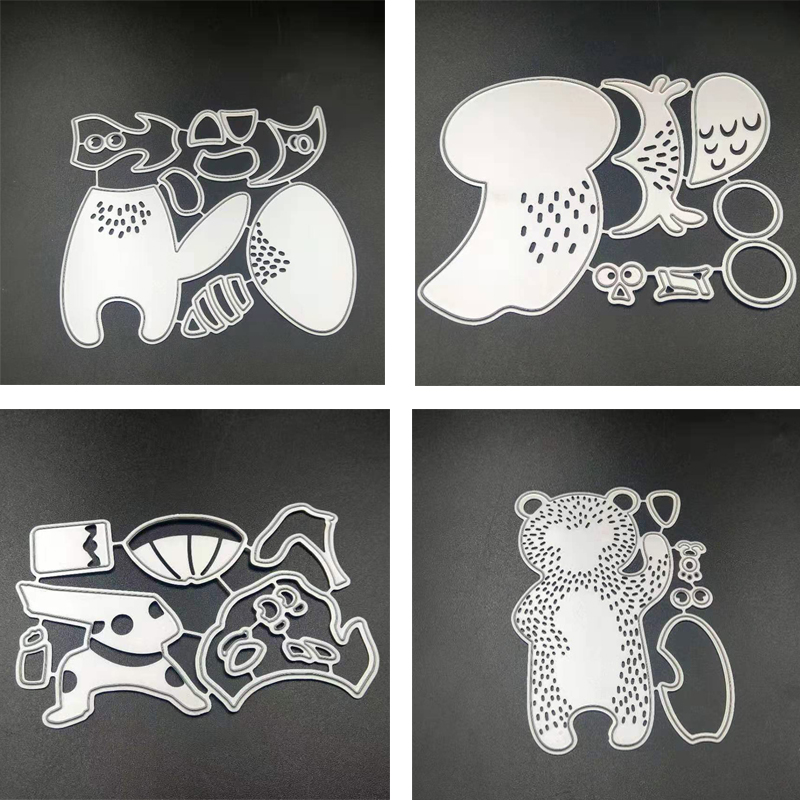 ZATWBS Hedgehog And Brown Bear Cutting Dies For DIY Scrapbooking Decoretive Embossing Stencial DIY Decoative Cards Die Cutter