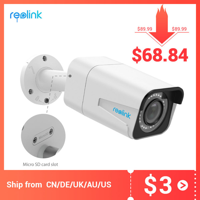 Reolink poe ipカメラ屋外5MP 4x光学ズームsdカードスロットオーディオIP66防水弾丸ビデオ監視RLC 511