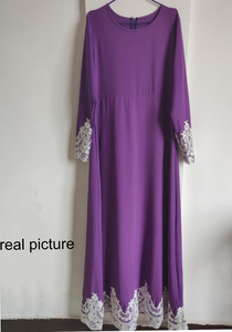 Image 5 - Vintage Muslim Dress Women Slim Fit Long Sleeve Maxi Hijab Dresses Islamic Clothing Big Swing A line Abaya Dress Dubai Kimono