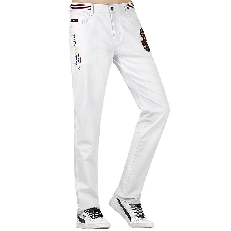 2020 New Summer Men Jeans White Cotton Straight Leg Men Casual Denim Pants Classic Cowboys Young Men Jeans Strench Fashion Casua