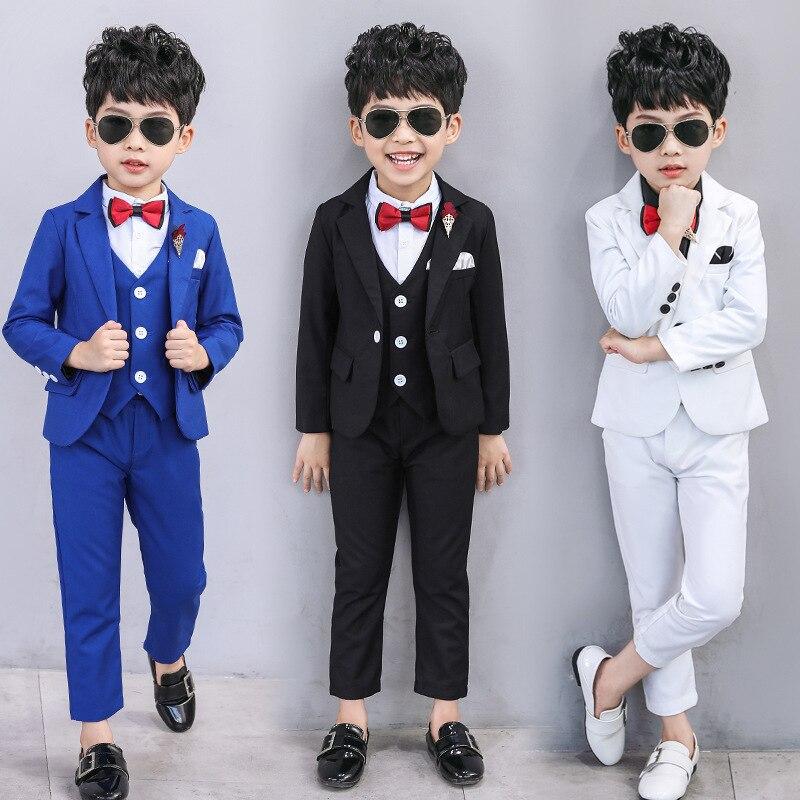 Children's Spring Autumn Suit Set Flower Boy's  Show Party Wedding Dress Costume Kids Blazer Vest Pants Shirts Clothing Sets|Suits| |  - title=