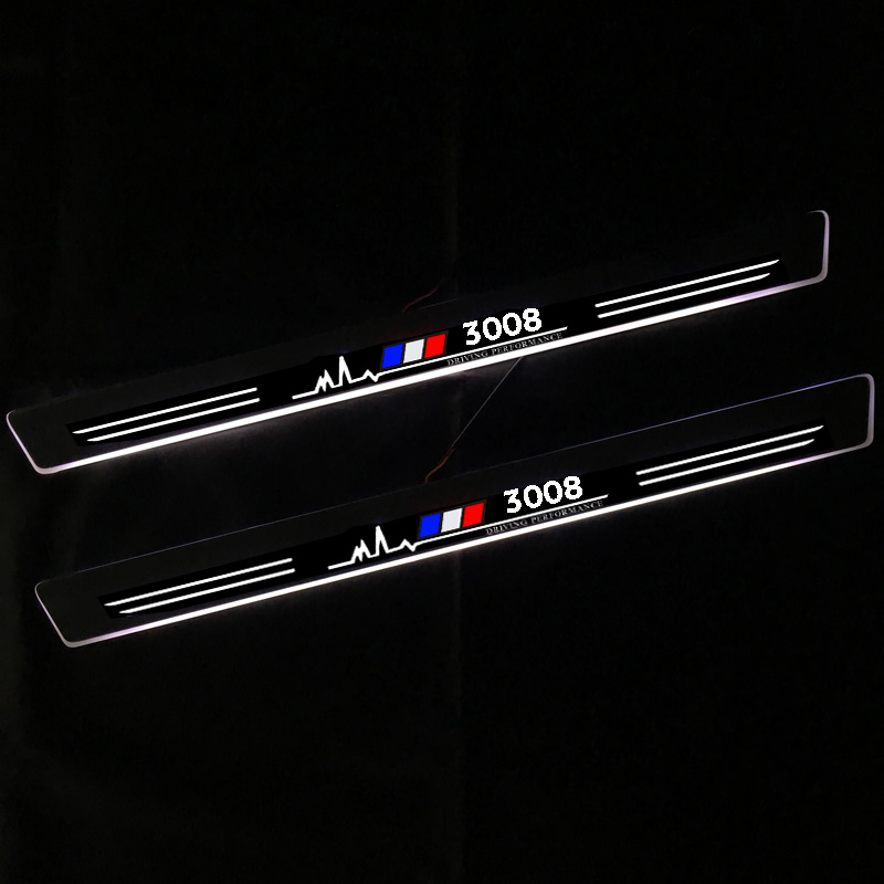 LED Car Scuff Plate Trim Pedal Door Sill Pathway Moving Welcome Light For <font><b>Peugeot</b></font> <font><b>3008</b></font> 2013-2015 <font><b>2016</b></font> 2017 Accessories image