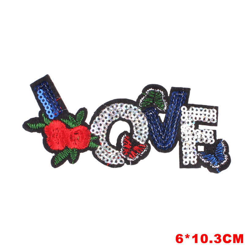 Letter Crown Love Patches Stickers Iron on Clothes Heat Transfer Applique Embroidered Applications Cloth Fabric Sequin Patches in Patches from Home Garden
