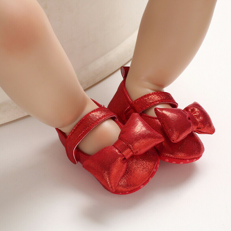 0-18M  Newborn Infant Baby Girls Shoes Princess Baby Party Birthday Wedding Bow Shoes Gifts