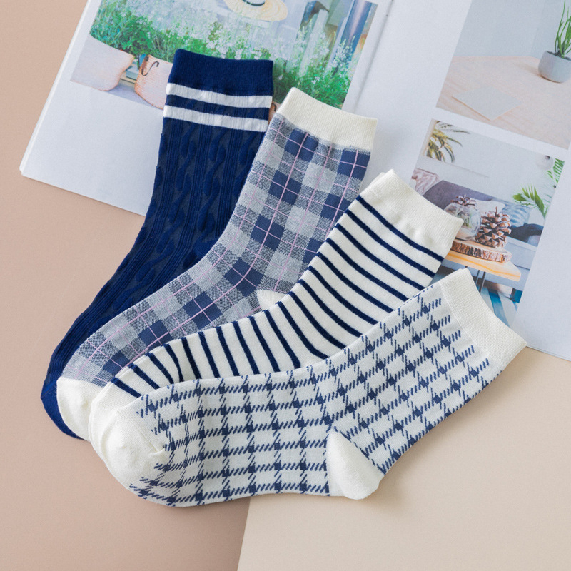 SP&CITY 4 Pairs Set Original Patterned Cotton Women Socks Summer Concise Casual Sports Female Socks Breathable Joker Sox