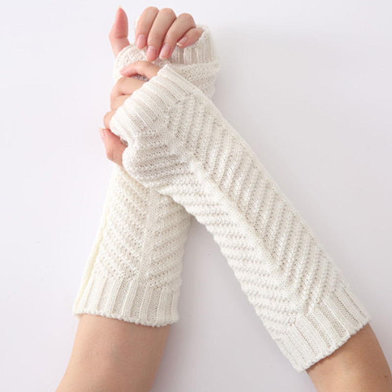 Winter Women Long Acrylic Warm Sleeves Mittens Female Stretch Fish Bone Skull Pattern Knit Half Finger Fingerless Gloves C72