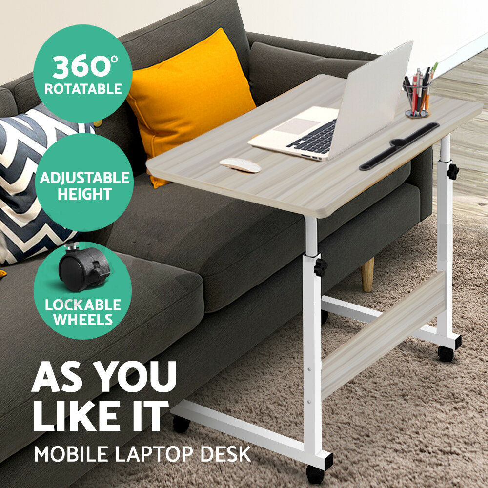 Laptop Table Adjustable Height Mobile Wooden Study Stand Computer IPad Bed Desk