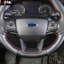 JHO ABS الكربون الحبوب عجلة القيادة إطار تراكب غطاء الكسوة لفورد اكسبلورر 2020 XLT محدودة البلاتين اكسسوارات السيارات