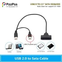 PzzPss Cable USB SATA USB 2,0 a 2,5 pulgadas HDD 7 + 15pin SATA Cable adaptador para disco duro SATA SSD y HDD para ordenador portátil