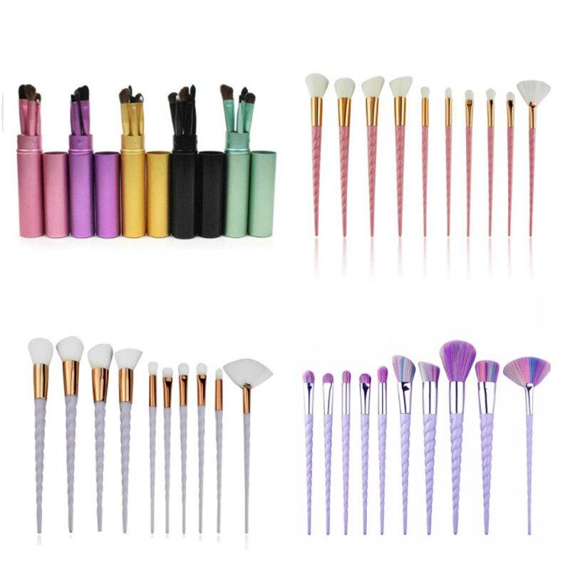venda quente 5 10 pcs conjunto de escovas de maquiagem cosmeticos ferramentas caixa de metal blush