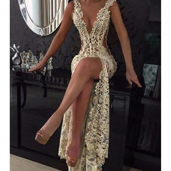 Sexy   Prom     Dress   2019 Sheath Deep V-neck Lace Pearls Slit Long   Prom   Gown Evening   Dresses   Robe De Soiree