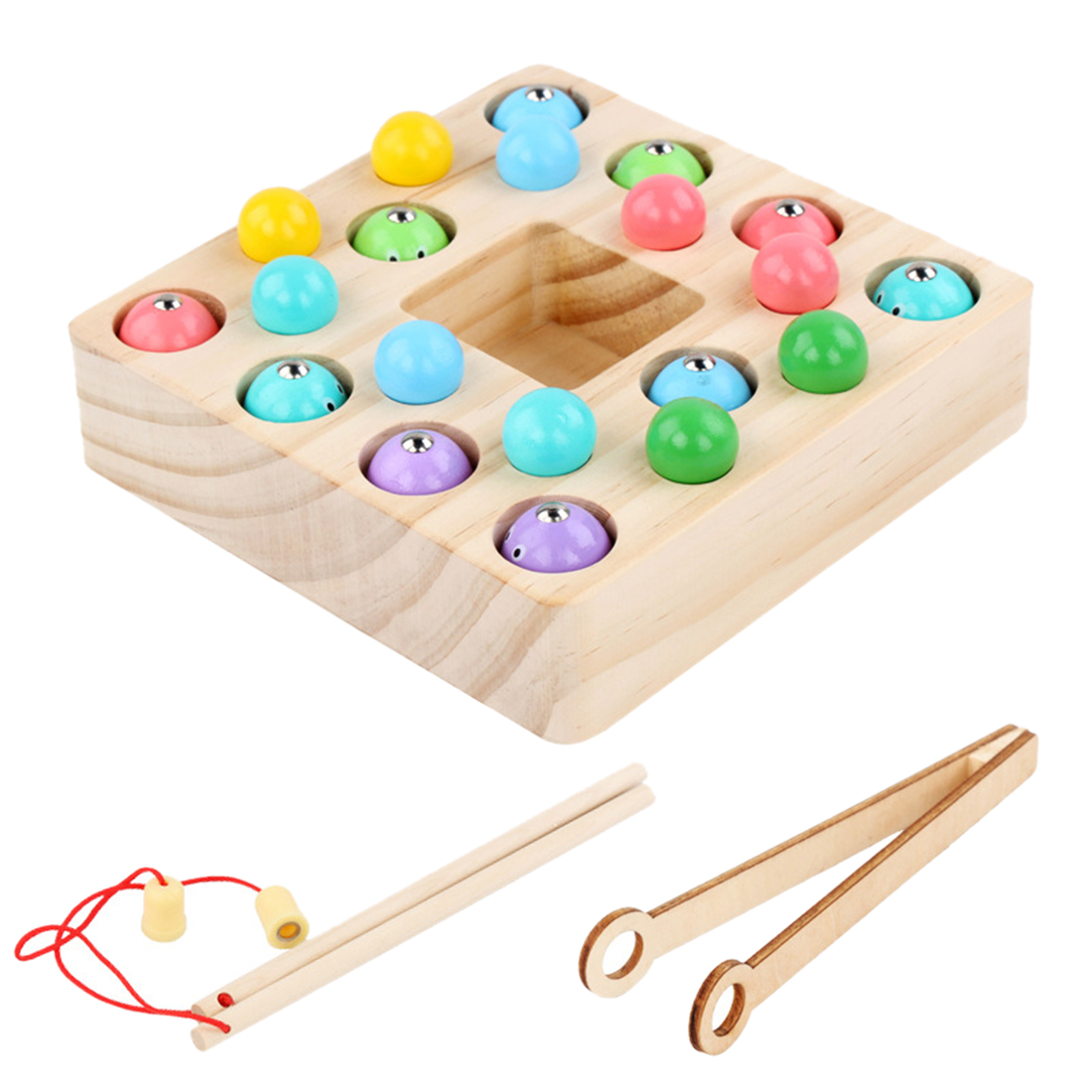 2-In-1 Children Fishing Bead Game Hand-Eye Balance Wooden Puzzle Early Education Toy  Wooden Montessori Toys For Kids Boys Gift