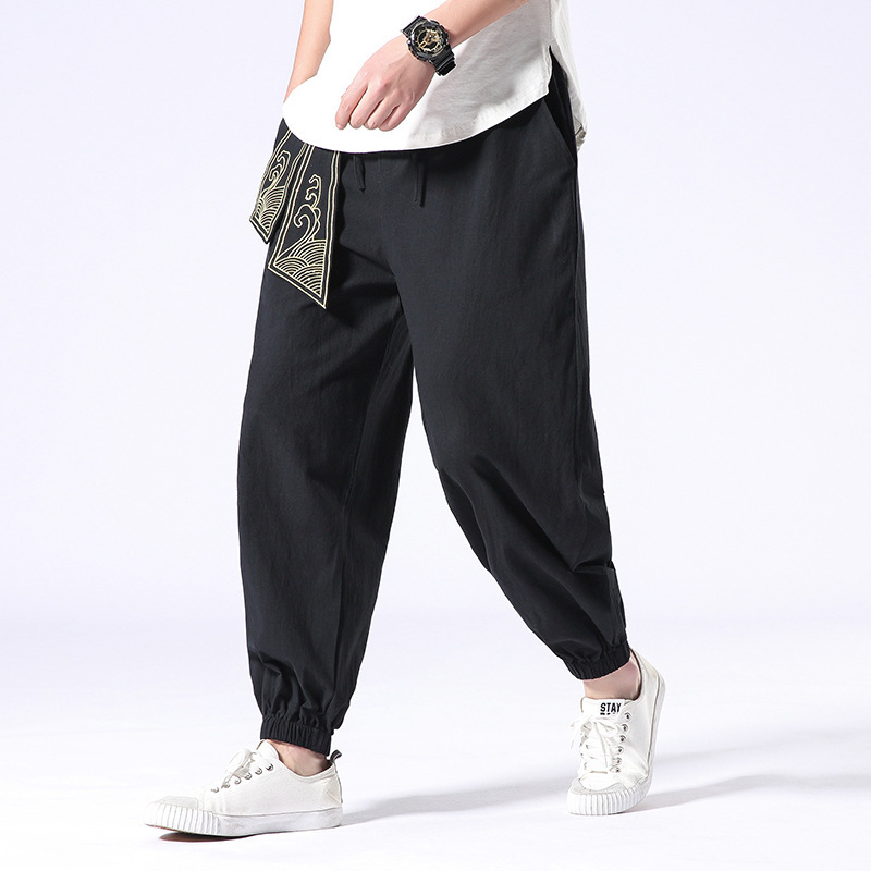 Streetwear Trousers Ribbons Harem-Pants Linen Elastic-Waist Japanese Men Loose Plus-Size
