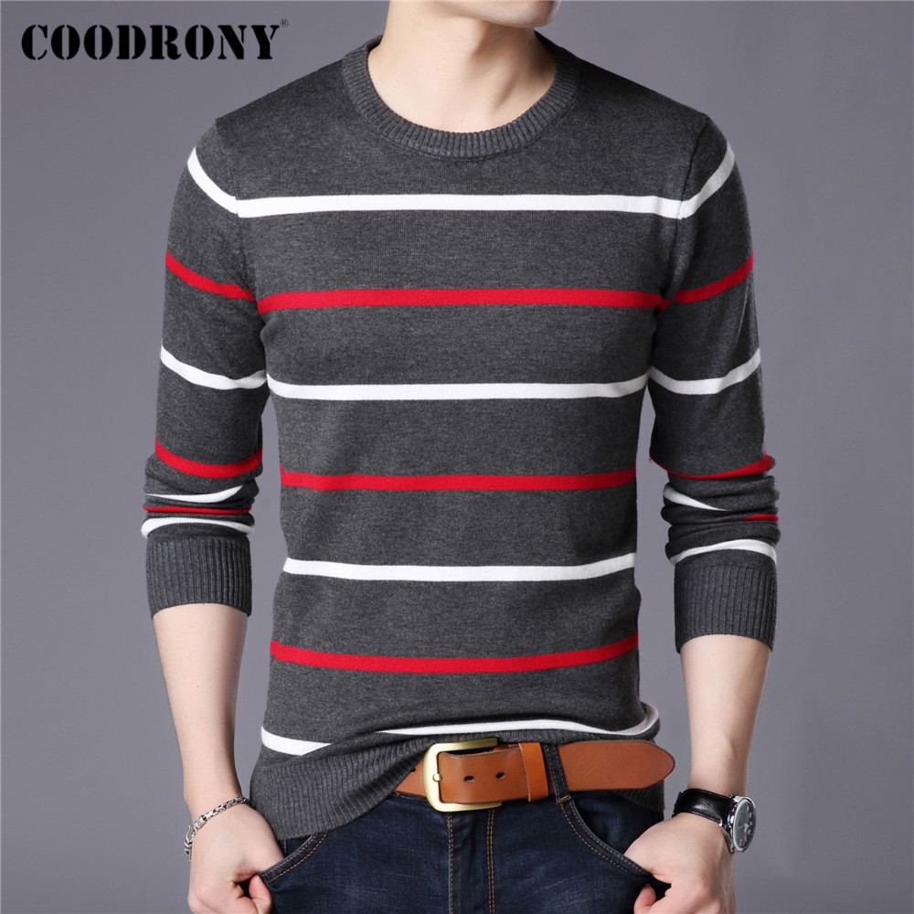 COODRONY Brand Sweater Men Fashion Casual Striped O-Neck Pull Homme Spring Autumn Cotton Knitwear Pullover Clothing Jersey C1003 3