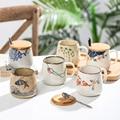 Винтажная кофейная кружка, уникальные керамические чашки в японском стиле ретро, 380 мл, чашка для завтрака из меняющей печи глины, креативны...