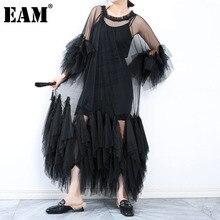 [EAM] Women Black Ruffles Long Big Size Dress New Round Neck Three-quarter Sleeve Loose Fit Fashion Spring Summer 2021 JR77101