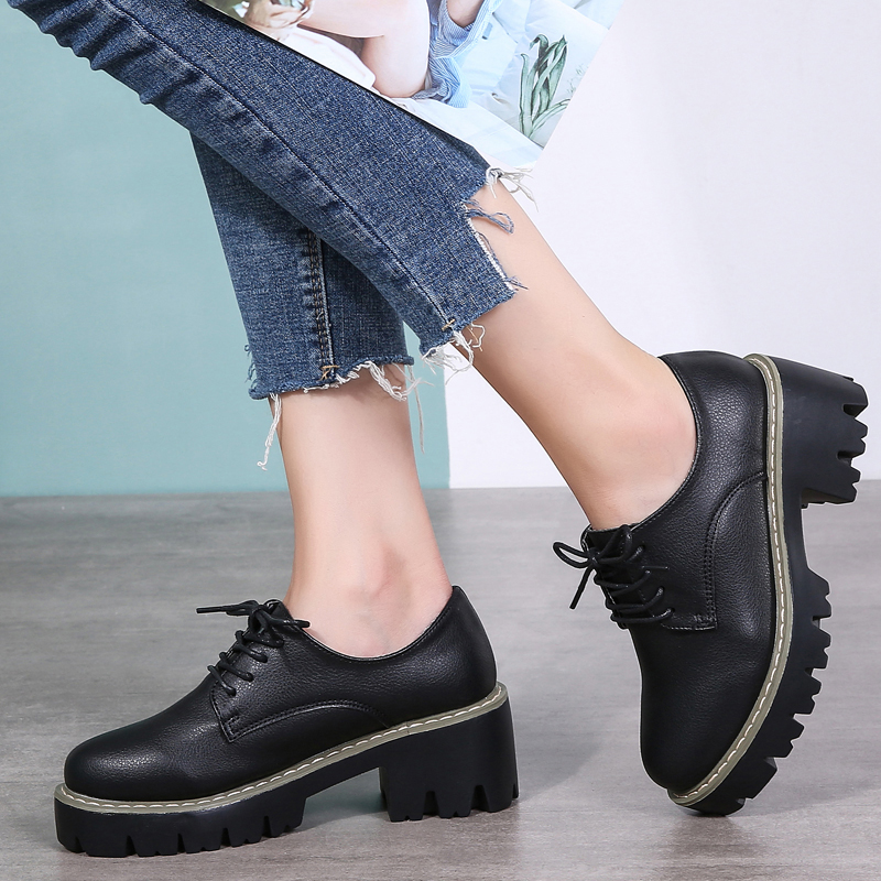 Hot Sale Damyuan Women's shoes 2020 Casual Women's Thick-soled Shoes Patent Leather Women's British Oxford Cloth Toe Wild Walking Shoes