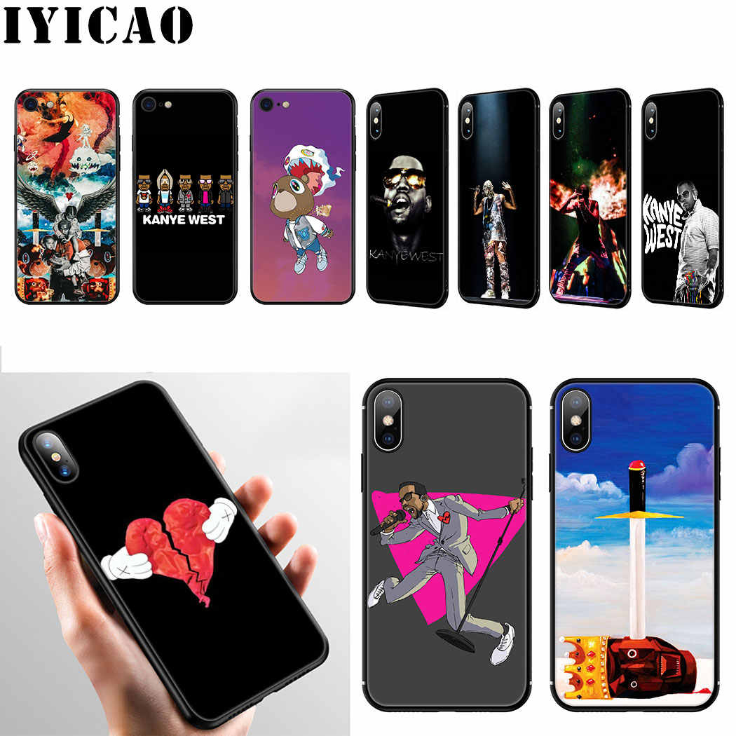 IYICAO Rapper Kanye West Silicone Mềm dành cho iPhone 11 Pro Max XR X XS Max 6 6S 7 8 Plus 5 5S SE Ốp Lưng Điện Thoại